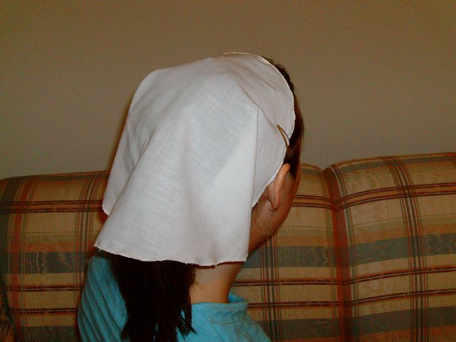 The Michigan Conference staged a photo shoot to demonstrate an appropriate head covering....