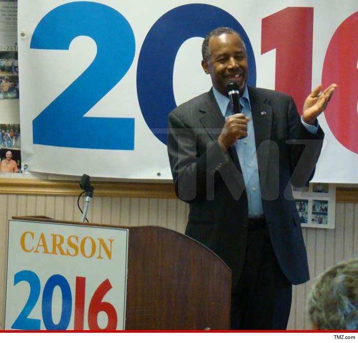 Ben Carson speaks with front tooth missing at Tommy's Country Ham House in Greenville, S.C.