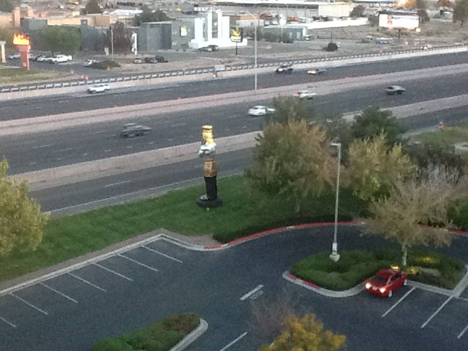 The statue was in danger of toppling into the freeway...