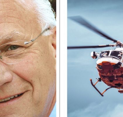 Helicopter Carrying George R. Knight Diverted To GC Parking Lot